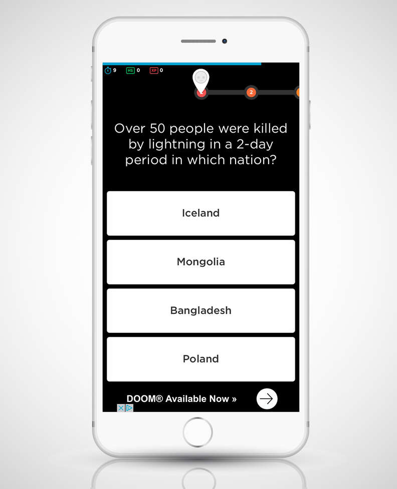 screenshot of QuizUp app on iPhone 6
