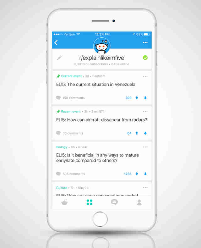 screenshot of Reddit mobile app on iphone 6