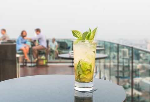 rooftop bar with cocktail