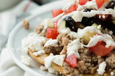 healthy greek turkey tostadas