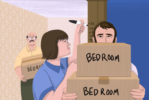 illustration of moving in with parents
