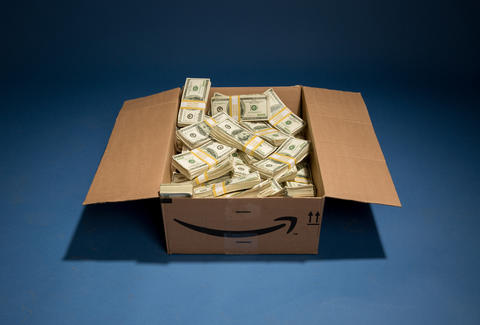 amazon box filled with cash
