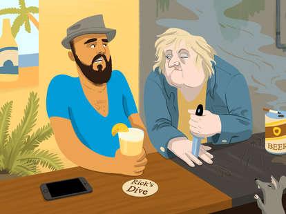 Jason Hoffman Thrillist illustration of hipster at dive bar
