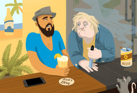 Jason Hoffman Thrillist illustration of hipster at dive bar