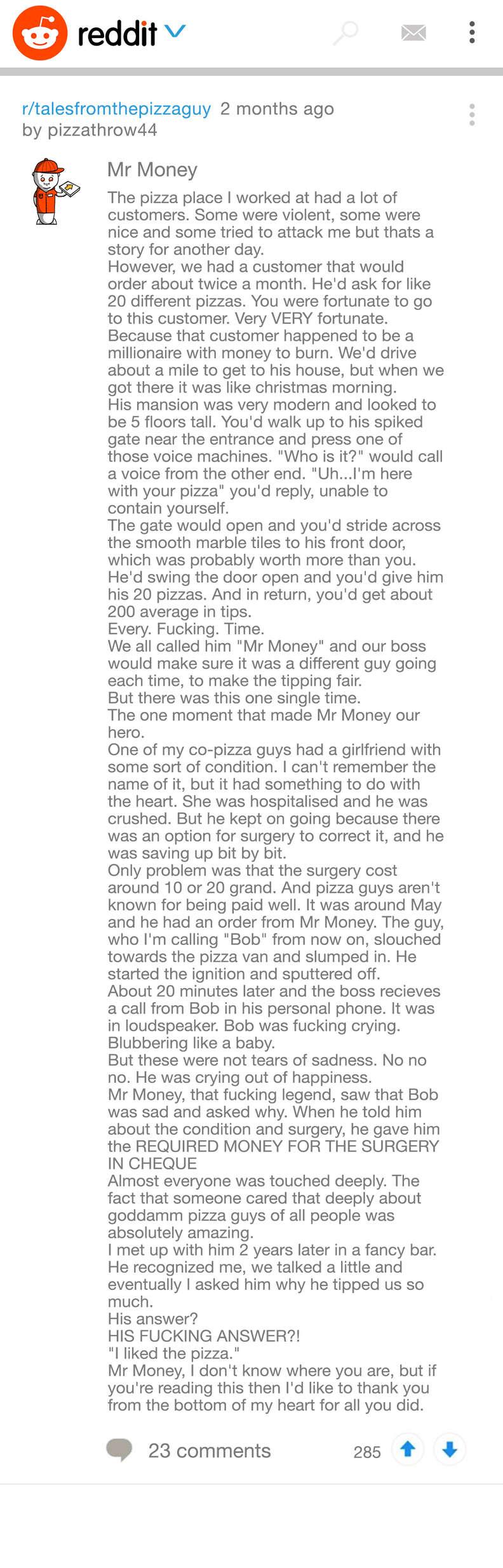 pizza story on Reddit
