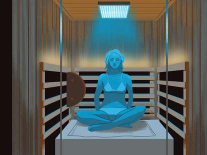 girl in infrared sauna illustration