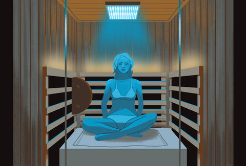 girl in infrared sauna illustration