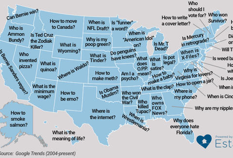 Google Questions US State Map