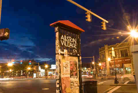 sign for allston village boston