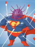 gonorrhea superhero illustration
