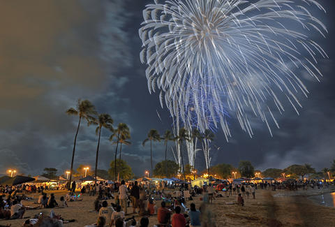 Fireworks over Ala Moana, Honolulu Hawaii