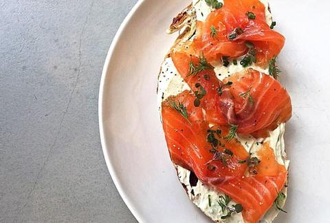 House cured salmon with horseradish cream cheese and chives