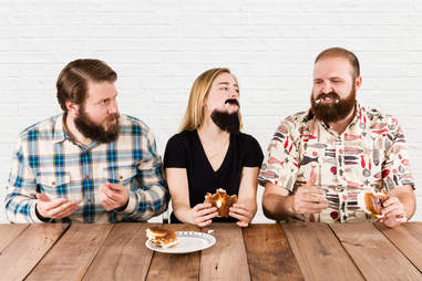 eating cream cheese bagels with beards