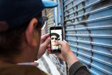 Man using Snapchat