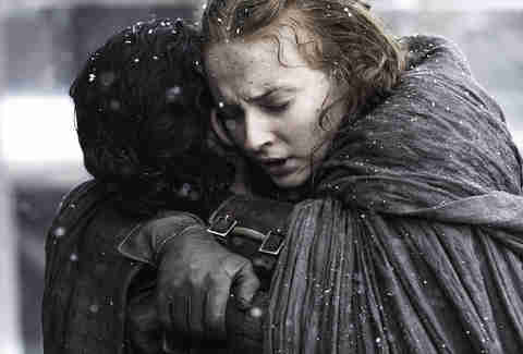 sansa hugs jon snow