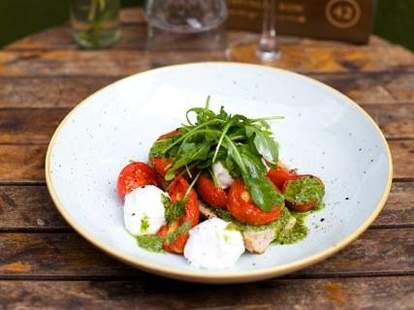 Tomato Bruschetta with Mozzarella and Salsa verde