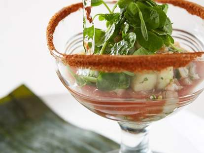 Bloody Maria Cóctel: Lime-marinated albacore tuna, cucumbers, green olives, red onion, spicy celery salt rim.