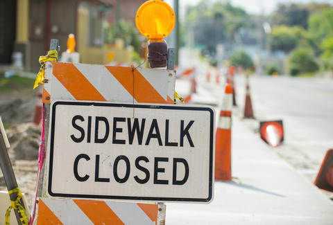 sidewalk closed road work