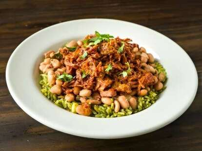 chicken, rice, and beans