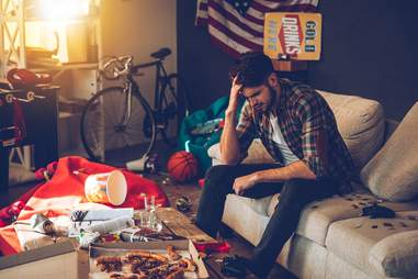 Man frustrated in living room