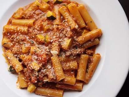 Rigatoni with Slagel farms sausage, zucchini, tomato, and cacio di Roma