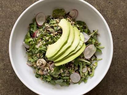 Organic Three Grain salad with quinoa, farro, wild rice, avocado, arugula and shaved radish
