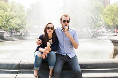 Unhappy couple in New York City