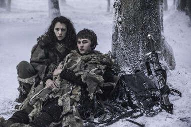 Ellie Kendrick as Meera Reed, Isaac Hempstead Wright as Bran Stark, Joseph Mawle as Coldhands Benjen Stark