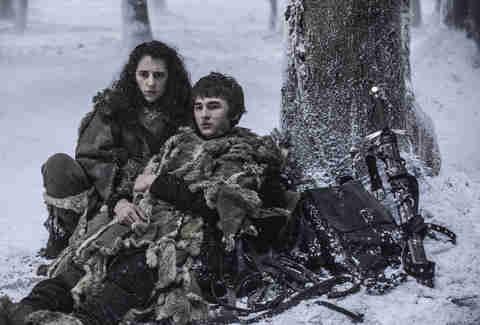 Ellie Kendrick as Meera Reed, Isaac Hempstead Wright as Bran Stark, Joseph Mawle as Coldhands Benjen Stark