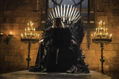 David Rintoul as the Mad King Aerys Targaryen on the Iron Throne in the Bran flashback
