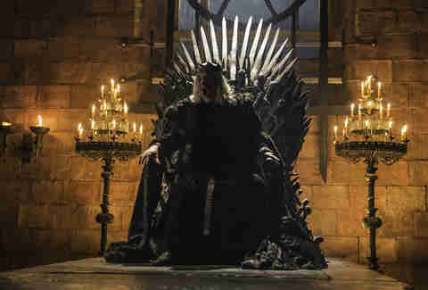 David Rintoul as the Mad King Aerys Targaryen on the Iron Throne in the Bran flashback