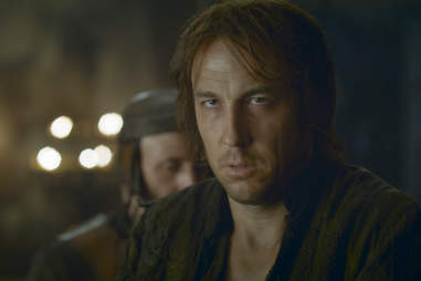 Tobias Menzies as Edmure Tully held captive at the Twins by Walder Frey