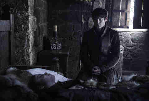 Iwan Rheon as Ramsay Bolton mourning the death of Myranda