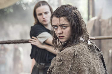 Maisie Williams as the blind Arya Stark, and Faye Marsay as the Waif