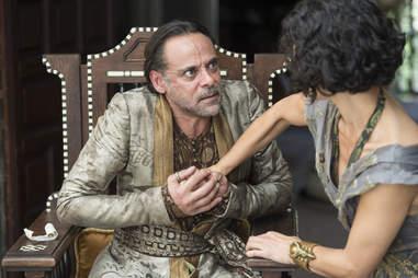 Alexander Siddig and Indira Varma as Doran Martell and Niobe of Voreni
