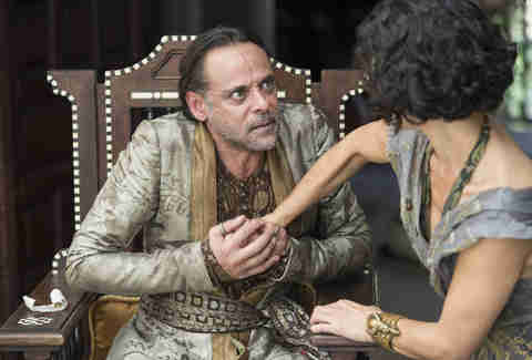 Alexander Siddig and Indira Varma as Doran Martell and Niobe of Voreni