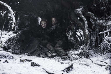 Alfie Allen and Sophie Turner as Theon Greyjoy and Sansa Stark in hiding from the Boltons