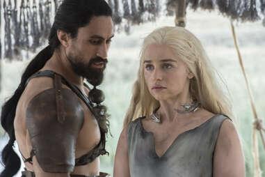Emilia Clarke as Daenerys Targaryen, who was held captive by the Dothraki Khal Moro played by Joe Naufahu