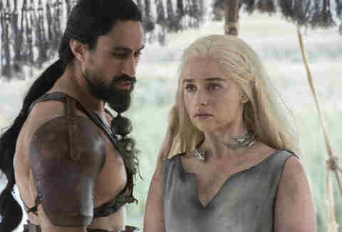 Emilia Clarke as Daenerys Targaryen, who was held captive by the Dothraki Khal Moro played by Joe Naufahu