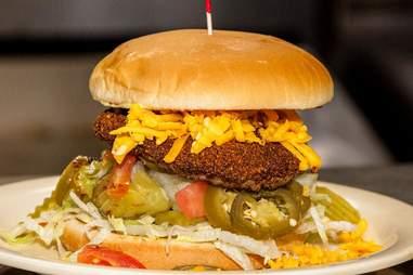 Burger at Hut's Hamburgers