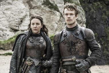 Alfie Allen as Theon Greyjoy and Gemma Whelan as Asha Greyjoy on the Iron Islands