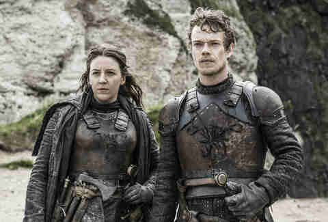 Alfie Allen as Theon Greyjoy and Gemma Whelan as Asha Greyjoy on the Iron Islands