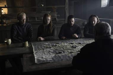 Sophie Turner as Sansa Stark, Gwendolyn Christie as Brienne of Tarth, Kit Harington as Jon Snow