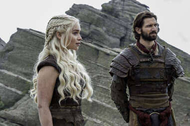 Emilia Clarke as Daenerys Targaryen and Michiel Huisman as Daario Naharis before they get Drogon back