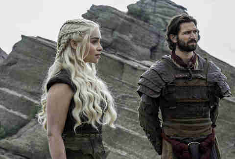 Emilia Clarke as Daenerys Targaryen and Michiel Huisman as Daario Naharis before they get Drogon back