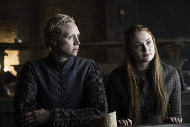 Gwendolyn Christie as Brienne of Tarth and Sophie Turner as Sansa Stark at the Wall