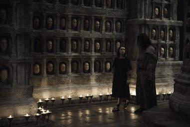 Maisie Williams as Arya Stark and Tom Wlaschiha as Jaqen H'ghar