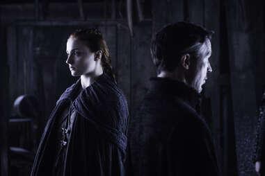 Sophie Turner as Sansa Stark confronts Aidan Gillen as Petyr Baelish aka Littlefinger