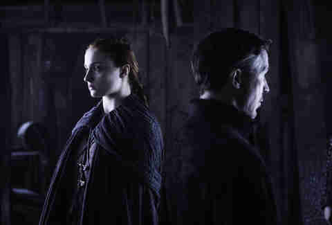 Sophie Turner as Sansa Stark confronts Aidan Gillen as Petyr Baelish aka Littlefinger