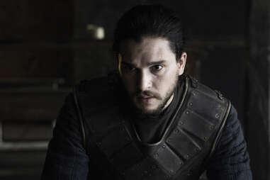 Kit Harington as Jon Snow, leaning in